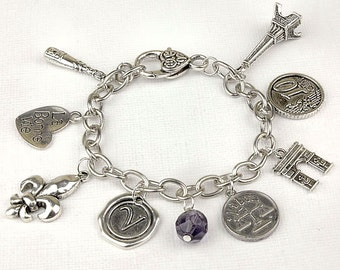 Personalized France Bracelet with Your Initial, Zodiac and Birthstone