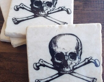 Skull & Crossbones stone drink coasters