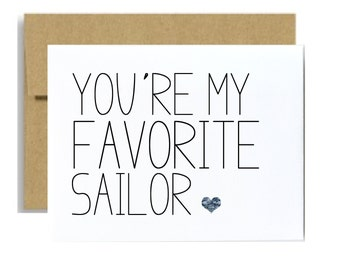 Military card Navy card Coast guard You are my favorite sailor greeting card blue simple camo Little sloth cards