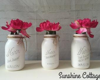 set of three painted quart mason jars