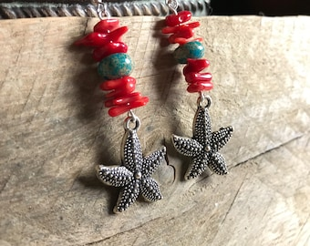 Red Coral and Turquoise Jasper Starfish Dangle Earrings