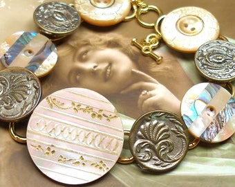 "1800s Antique BUTTONs bracelet. Victorian mother-of-pearl on gold One of a kind jewellery. 8""."