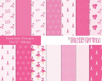 Breast cancer digital paper pack, flamingo pink, charity, scrapbook paper, craft paper, cancer support, ribbon awareness backgrounds (PP034)