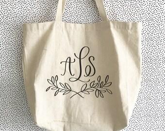 Monogram Floral Tote | Personalized Canvas Tote Bag | Bridesmaid Tote Bag | Teacher Tote
