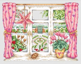 Winter Window Cross Stitch PDF Pattern
