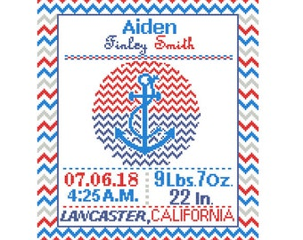1 Cross Stitch custom Pattern Baby Boy Personalised Birth Announcement Birth Record Anchor Red Blue Navy Nautical Nursery chevron