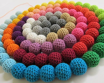 Crocheted beads, 20mm, handmade, round, choose your colours 15pc