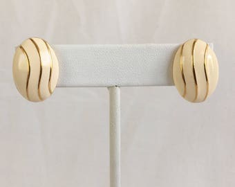 Napier Oval Domes Ivory Enamel With Gold Tone Lines Pierced Vintage Earrings
