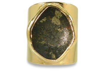 Pyrite Ring, Pyrite, Gemstones Ring,Geometric Ring, Cocktail Ring, Gold Adjustable Wide Band Ring  Gold fashion ring, Statement Pyrite Ring.