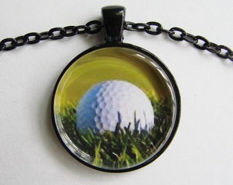 GOLF BALL and TURF Necklace  Ideal gift for any golfer Close up of golf ball and turf in greens & white