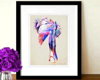"Fine Art Print, ""Watercolor Shoulder"",8.5"" x 11"", Osteopathic Nurse Practitioner gift, Chiropractor art, Orthopedic Surgeon,Shoulder anatomy"