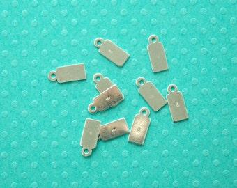 tag en argent sterling - 20pcs ou plus - 11,5 mm estampillé.925 breloque en forme rectangulaire plat - étiquette pour des résultats de fabrication de bijoux - étiquette carré pendentif