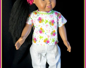 "American Girl Doll Style Nurses Scrubs, Nurse Uniform Flower Print Top w White Slacks; Shoes & Accessories Available for Most 18"" dolls"