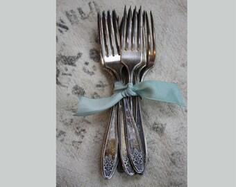 Vintage Flatware- Princess Lady Doris Silverplate 8 Dinner Forks- Vintage Wedding Decor