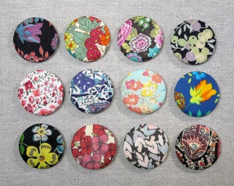 Fabric Button Magnets - Set of 12 - Liberty of London Tana Lawn 1