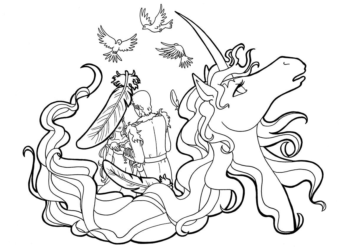 The Last Unicorn Colouring Page Amalthea and Lir colouring