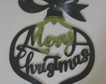 Vinyl Record Art - Merry Christmas Ornament - Christmas - Vinyl Record Decoration