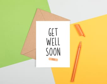 Get Well Soon Card, Sorry Illness Card, Funny Get Well Soon Card, Plaster Get Well Soon Card, Illness Sympathy Card, Feel Better Soon Card
