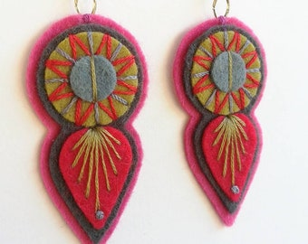 INDIE EARRINGS - Felt and hand embroidered textile earrings limited edition statement jewellery / jewelry red charcoal khaki summer finds