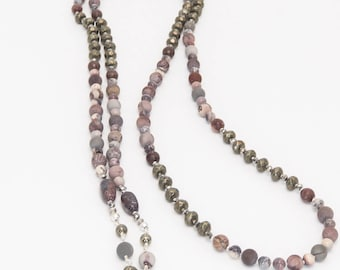 Artistic Jasper and Pyrite Sterling Silver Lariat and Earrings