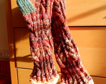 Entwined double cable handknit bootsock