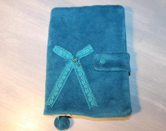 protects book, protects f ormat A5, turquoise, soft fleece, postage to the France