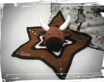 Flat star cow version African crochet blanket