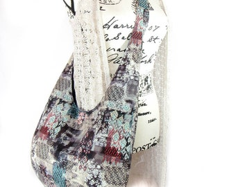 Cross Body Hobo Bag Purse,  Modern print Fabric Tote Bag,  Boho Shoulder Bag.