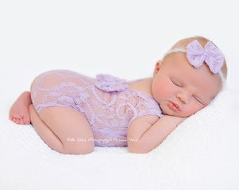 Lavender Purple Lace Romper and Bow Headband Newborn Photography Prop