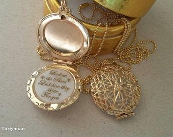Personalized Photo Locket, Custom engraving, Gold Necklace, Custom Necklace, Quote Necklace,  Personal engraving, Round Pendant Necklace