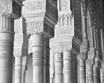 Architecture Photography, Black and White, Spain, Granada, Alhambra, Columns, Travel, Fine Art Print, Europe, Home Decor, Neutral Wall Art