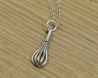 Bakers Whisk Necklace, Silver Baking Whisk Charm on a Silver Cable Chain