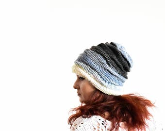 Knitted winter slouchy hat slouchy beanie wool beanie slouchy beanie woman slouch beanie gray blue hat white ombre slouchy hat slouch toque