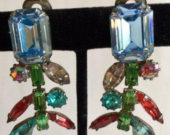 "2"" Rainbow Colors Rhinestone Chandelier Earrings - Blues, Green, Lavender, Hot Pink, Aqua, Aquamarine Vintage Dangling Chandelier Earrings"