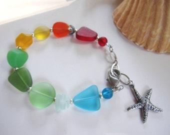 Colorful Sea Glass Bracelet, Multi Color Seaglass, Rainbow Colors, Silver Starfish Charm, Beach Jewelry