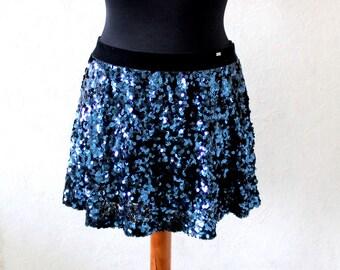 Blue fully sequinned mini skirt Large Size