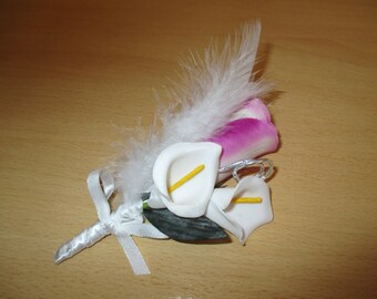 Brooch-wedding - purple and white boutonniere