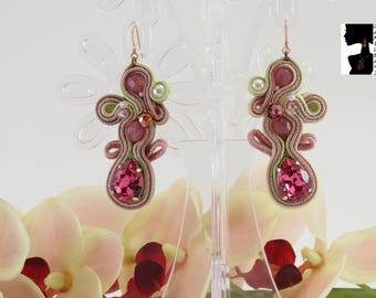 Earrings Soutaches Swarovski Crystal pink-pink soutaches earrings-soutaches earrings-Brilliant earrings-gift for her-Valentine