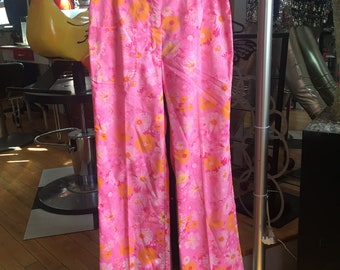 Vintage Lilly Pulitzer Pants Pink Yellow Pant Women's Size 8