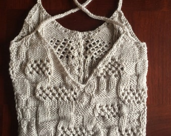 Soft silver gray lace low back tank, summer tank