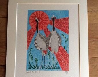 Japanese Cranes Art, Bird Art Print, Crane Art, Bird Lovers Gift, Bird Art, Bird picture