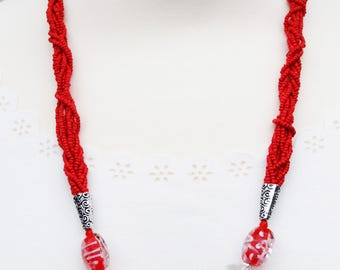 Red Necklace, Red Vintage Necklace, Red Beaded Necklace, Statement Necklace, Red Seed Bead Necklace, Red Statement Necklace, Bead Necklace