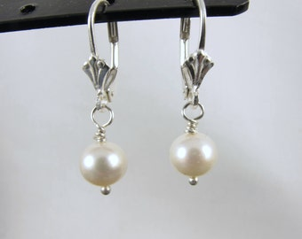 Classic Peal Earrings, AA Akoya, Cultured Pearls, Earrings, Dangle, Sterling Silver, Bridesmaids, Wedding, Anniversary, Gift, Mother's Day