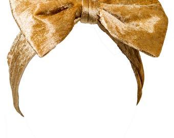 Gold Velvet Bow Headband, Gold Headband, Velvet Headband, Dolly Bow, Fall Headband, Oversized Bow Headband