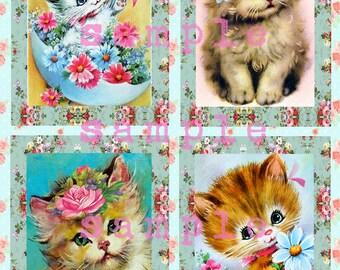 Digital Clipart, instant download, vintage kitten images, Easter card making, victorian scrap roses, tabby kitten cat kitty retro kitsch