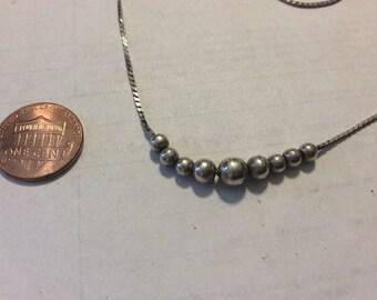 "Vintage 14"""" sterling silver ball necklace bacn"