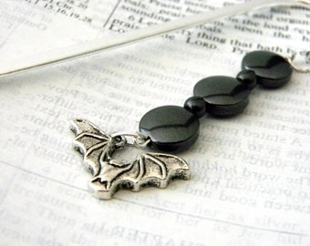 Bat Bookmark with Black Hematite Beads Shepherd Hook Steel Bookmark Silver Color Bookmark