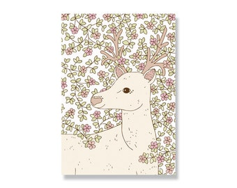 SALE Entwined Stag A4 Illustration Print - 80% off