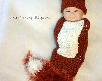 Newborn PHOTO Prop - FOX Hat and Cocoon - Baby - Boy - Girl - MADE to Order-  Rust