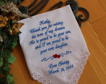 Mother of The Groom Handkerchief, Embroidered Hankerchief,Wedding favor, thank you for RAISING,Gift for Mother of the Groom, LS6F38SV210